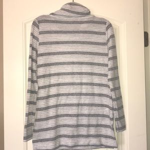 LOFT Tops - Loft Gray Striped Cowl Neck Tunic Size XS